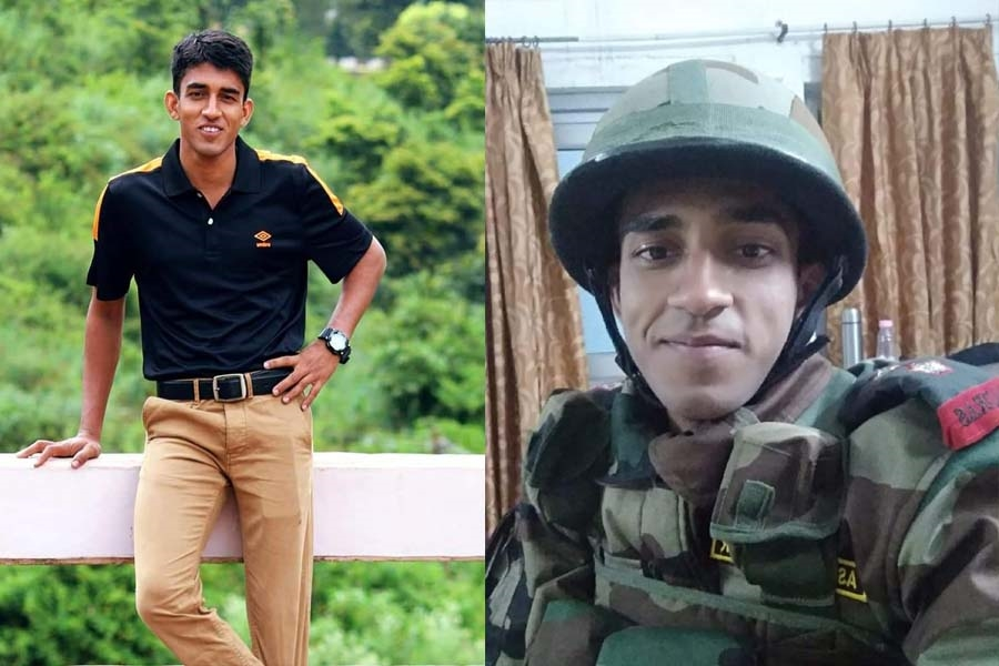 martyr captain ashutosh kumar in uniform and in civil dress