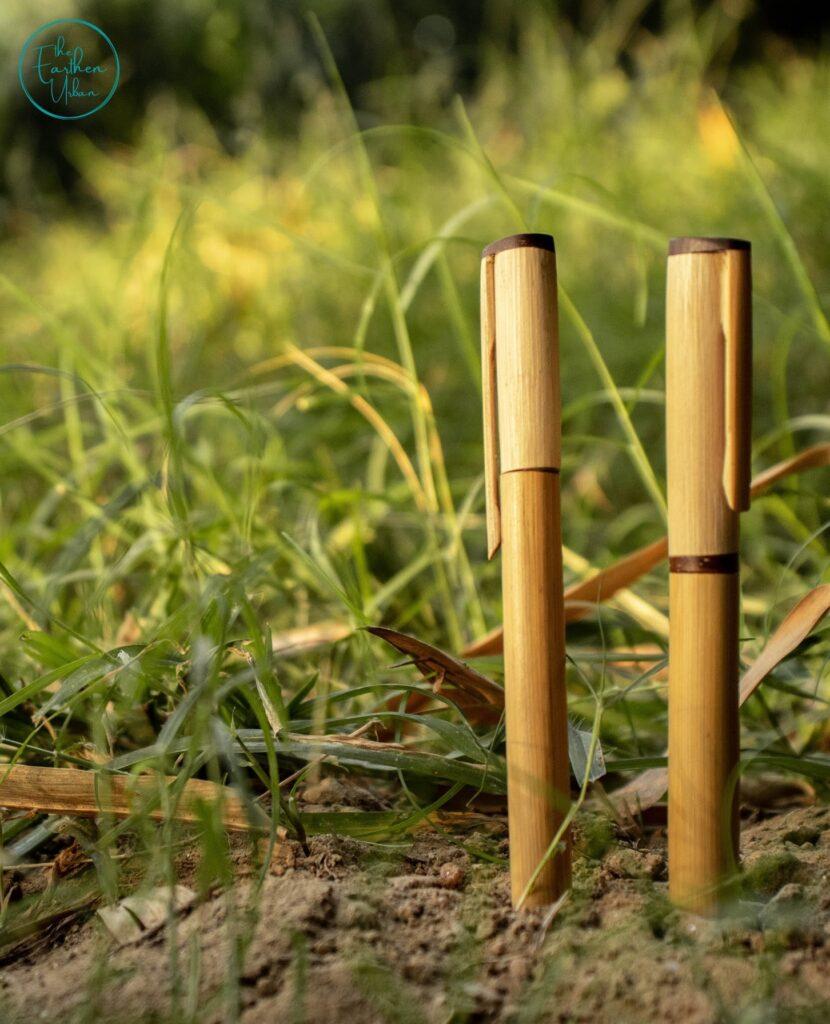 wooden pen kept standing on soil