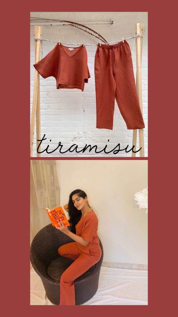 woman wearing orange loungewear