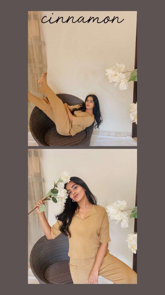 woman wearing beige loungewear