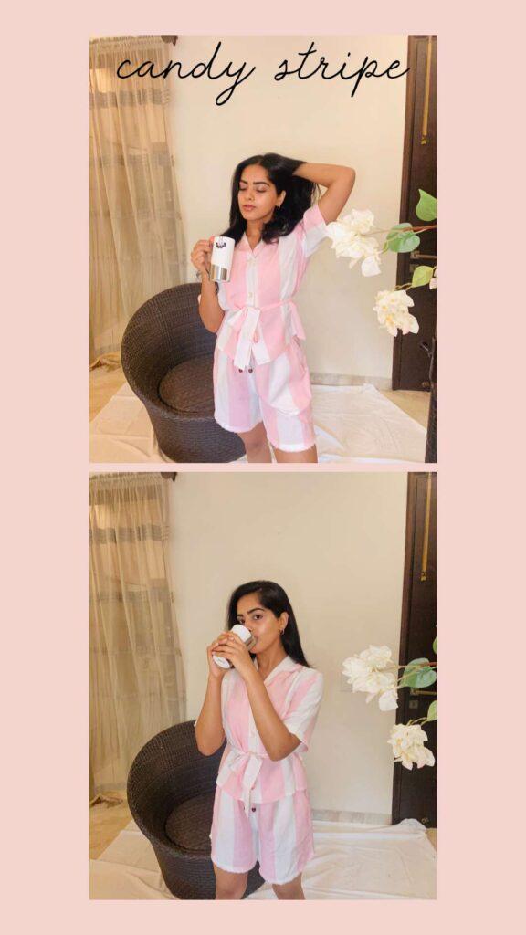 woman wearing pink and white loungewear