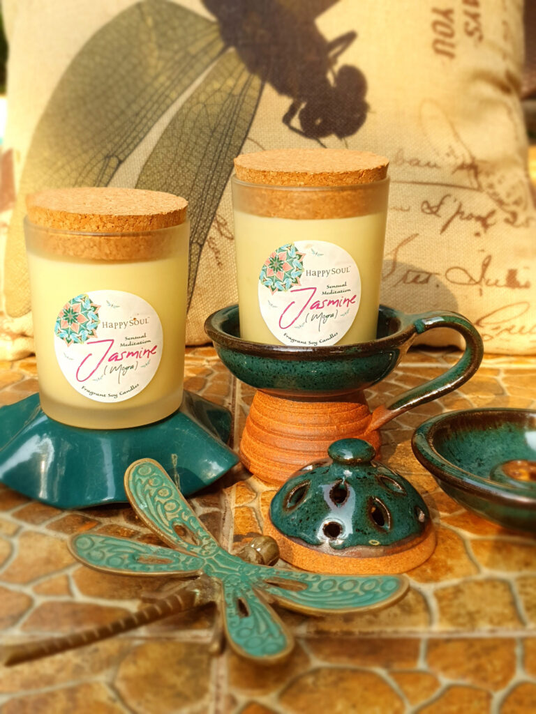 decorated scented candle set
