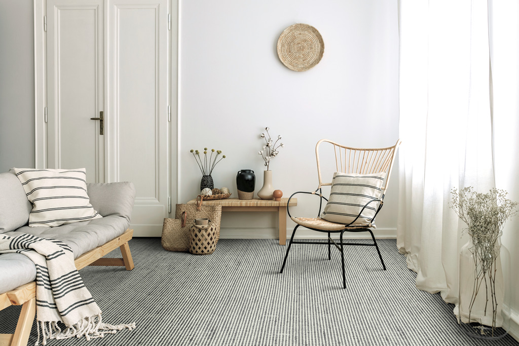 Kaleen india living room with rug